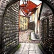 Old Town Oil Paining Art Print
