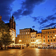 Old Town Square By Night In Torun Art Print