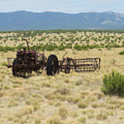 Old Tractor And Rake In New Mexico Art Print