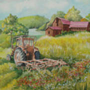 Old Tractor In Hungary Galgaguta Art Print by Charles Hetenyi