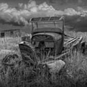 Old Truck Abandoned In The Grass In Black And White At The Ghost Town By Okaton South Dakota Art Print