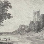 Old View Of Durham Cathedral Art Print