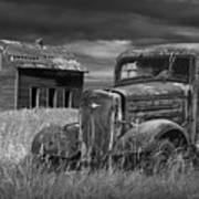 Old Vintage Pickup In Black And White By An Abandoned Farm House Art Print