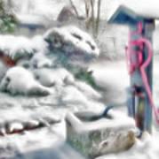 Old Water Pump In Winter Art Print