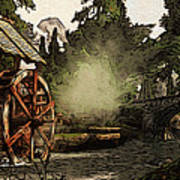 Old Watermill In The Forest Art Print