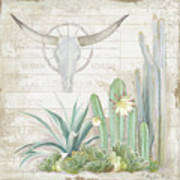 Old West Cactus Garden W Longhorn Cow Skull N Succulents Over Wood Art Print