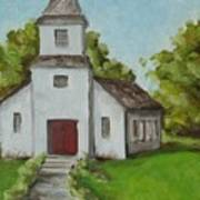 Old White Church In The Texas Hill Country Art Print