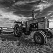 Old White Tractor In The Field Art Print