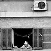 Old Woman In Window  Art Print