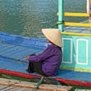 Old Woman On A Colorful River Boat Art Print
