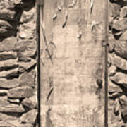 Old Wood Door  And Stone - Vertical Sepia Bw Art Print
