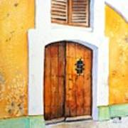 Old Wood Door Arch And Shutters Art Print