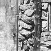 Old Wood Door Window And Stone In Black And White Art Print