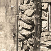 Old Wood Door Window And Stone In Sepia Black And White Art Print