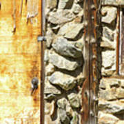 Old Wood Door Window And Stone Art Print