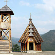 Old Wooden Church And Bell Tower Art Print