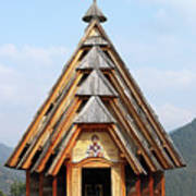 Old Wooden Church On Mountain Art Print