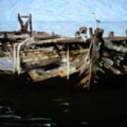 Old Wooden Fishing Boat Art Print
