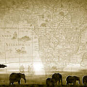 Old World Africa Antique Sunset Art Print