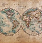 Old World Map In Hemispheres Print by Richard Thomas
