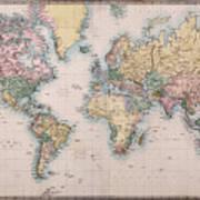 Old World Map On Mercators Projection Art Print