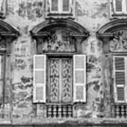 Old Yellow Building With Lace Curtain In Nice, France, Black And Art Print