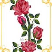Olde Rose Pink With Leaves And Tendrils Art Print