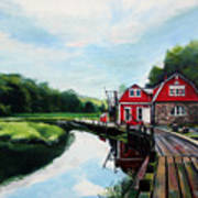 Ole's Boathouse In Riverside Connecticut Art Print