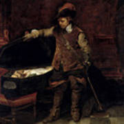 Oliver Cromwell Opening The Coffin Of Charles I  Art Print