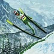 Olympic Ski Jumper Art Print