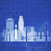 Omaha Blueprint Skyline Art Print