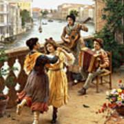 On A Venetian Balcony Art Print