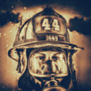 On Duty And Into Fire_dramatic Art Print