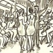 On The A, New York City Subway Drawing Art Print