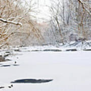 On The Bank Of A Snow Cover Stream Art Print