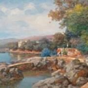 On The Beach Of Abbazia Art Print