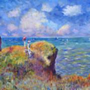 On The Bluff At Pourville - Sur Les Traces De Monet Art Print