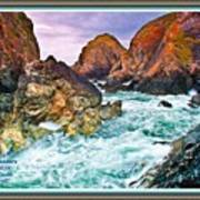 On The Coast Of Cornwall L A With Decorative Ornate Printed Frame. Art Print