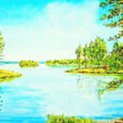 On The Lake In A Sunny Day 2 Art Print