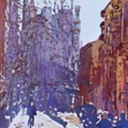 On The Way To The Sagrada Familia Art Print