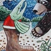 Once Bear And Salmon_part 1 Art Print