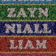 One Direction Names Bottle Cap Mosaic Print by Paul Van Scott