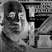 One Hundred Us Dollar Bill - $100 Usd In Silver On Black Art Print