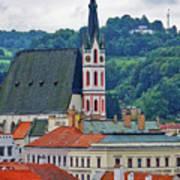 One Of The Churches In Cesky Kumlov In The Czech Republic Art Print