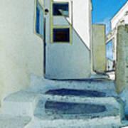One Of The Streets Of Santorini Art Print
