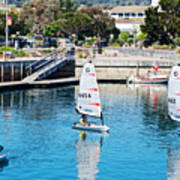 One-person Sailboats By The Commercial Pier In Monterey-california Art Print