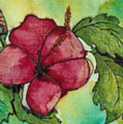 One Pink Hibiscus Art Print