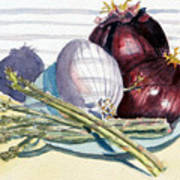 Onions And Asparagus - Miniature Art Print