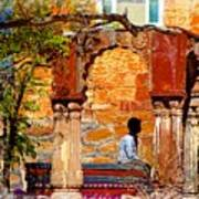 Open Air Bed Among The Arches India Rajasthan 1a Art Print