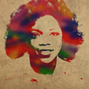 Oprah Winfrey Vintage 1978 Watercolor Portrait Art Print